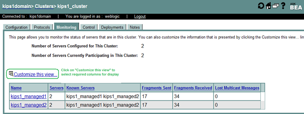 Monitoring a WebLogic Cluster using the Administration Console