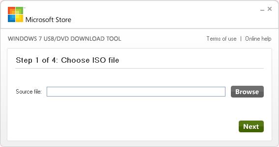 windows7 USB/DVD Download Tool - STEP 1